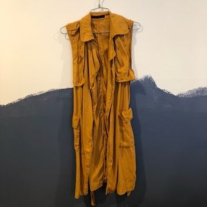 Long Yellow Trench Vest